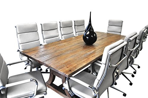 11 Piece Furniture (Solis Patio 11 Piece Ligna Solid Wood Table with White Bonded Leather Chairs Conference Set, Natural/Taupe/Chrome/Silver/Black/Brown)