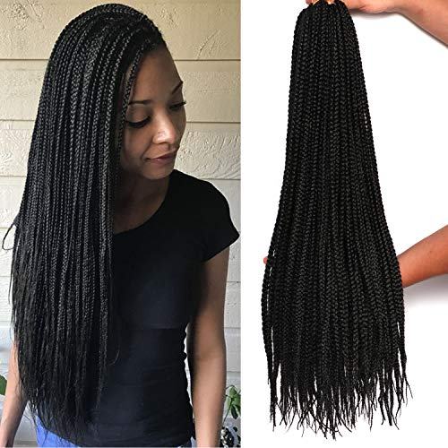 7 Packs 26 Inch Medium Box Braids Crochet Hair Extensions Synthetic Hair Crochet Braids Kanekalon Jumpo Braiding Hair 20 Strands/pack (26 Inch, 1B)