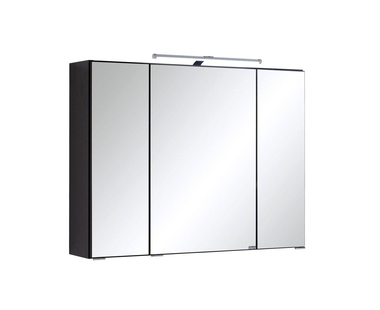 Lifestyle4living Spiegelschrank, Badezimmerschrank, Badschrank, Badspiegel, Hängeschrank, Badezimmerspiegel, 3-türig, inkl. LED-Beleuchtung, Graphit, grau