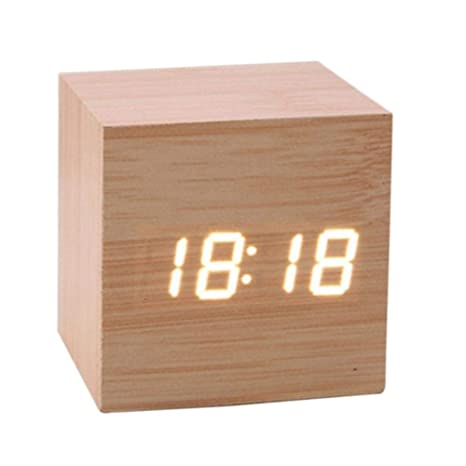 HJCWL 1 Piezas Mini Reloj de Control de Sonido de Madera Reloj de ...