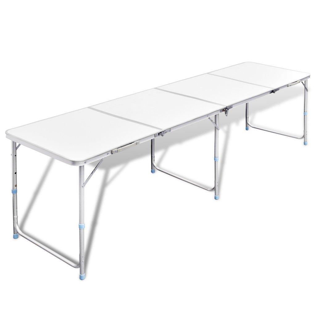 Festnight Campingtisch Klapptisch Buffettisch Gartentisch aus Aluminium mit Tragegriff 240 x 60 cm Klappbar H/öhenverstellbar