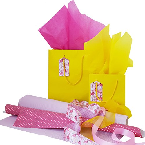 Complete Paper Wrapping Set, Flamingo Fiesta Design with Bags and Tags, Ribbons, Wrapping Paper and Tissue Paper for All Occasions, Yellow