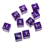 Pack of 10pcs Six Sided Dice D6 Playing Dungeons & Dragons D&D TRPG Board Game Purple