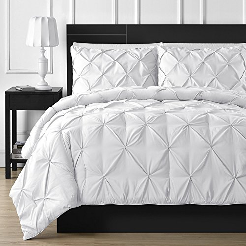 Comfy Bedding 3-Piece Pinch Pleat Comforter Set All Season Pintuck Style Double Needle Durable Stitching, Queen White