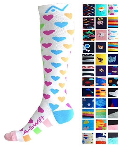Compression Socks (1 pair) for Women & Men (Happy Hearts, L/XL)