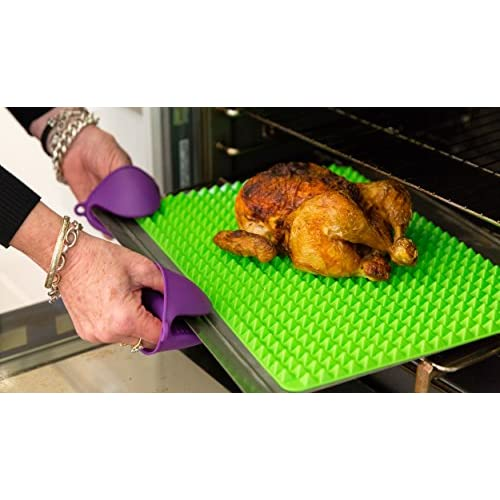 Silicone, Heatproof, Non-stick Pyramid Baking Mat, Oven Mitts and 12 inch Tongs. Ideal set for healthy fat free baking and grilling. Gift boxed.