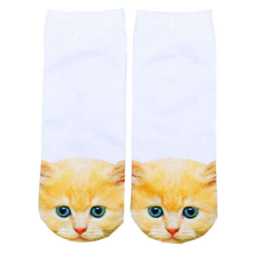 Bobury 3D Socken Harajuku Style Print Katze Frauen Socken Unisex Spandex Low Cut Sö ckchen