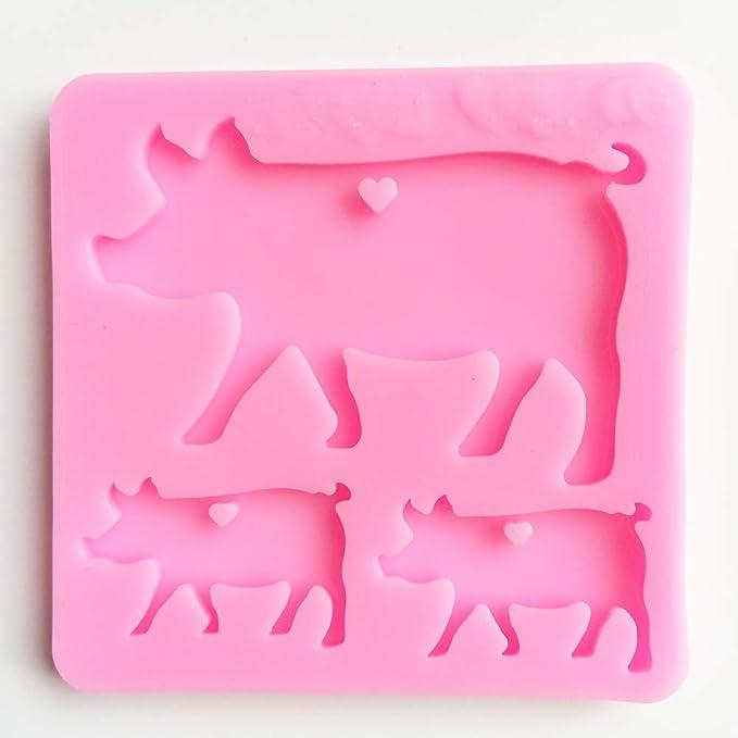 Pig Mama Baby Animal Family Resin Mold Silicone Keychain Mold Amazon Com
