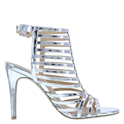 Christian Siriano for Payless Womens Krissy Caged Pump Silver Smooth akdWY