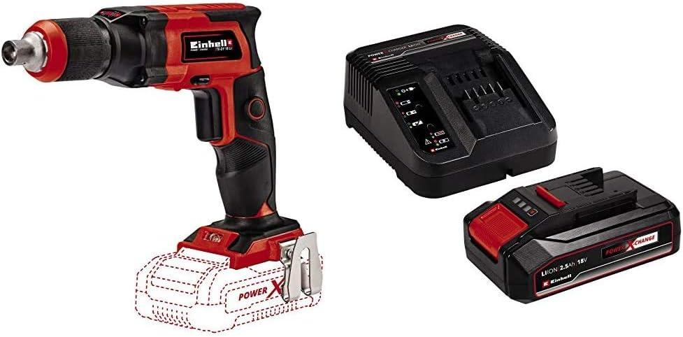 Cargador Power X-Change Einhell 4259980 Atornillador de obra TE-DY 18 li-solo en seco sin bater/ía 4512097 Kit para principiantes que incluye Bater/ía 2,5 Ah Rojo//Negro