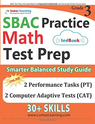 Read Online SBAC Test Prep: 3rd Grade Math Common Core Practice Book and Full-length Online Assessments: Smarter Balanced Study Guide With Performance Task (PT) and Computer Adaptive Testing (CAT) ePub fb2 book