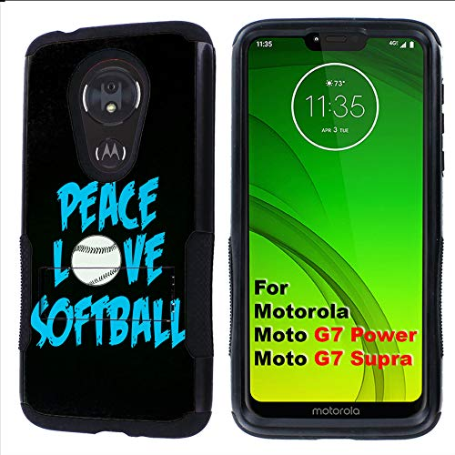 (G7 Power/Supra Rugged Case [Mobiflare] [Black] Air Grip Clamshell Case with Kickstand [Softball] for Motorola G7 Power/Supra)
