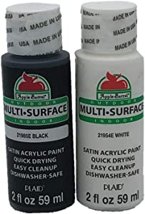 Apple Barrel Satin Acrylic Multi-Surface Paint Set - Black and White (2 Ounces Each)