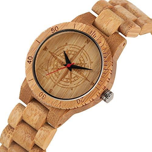 Orologio creativo ecologico, non tossico, in bambù, da uomo, casual, al quarzo, marrone, in bambù naturale, orologio da polso per ragazzi