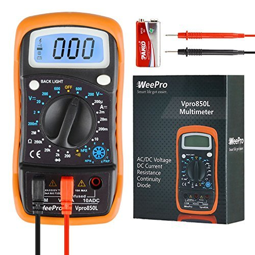 WeePro Vpro850L Digital Multimeter DC AC Voltmeter, Ohm Volt Amp Test Meter, Electric Tester Ohmmeter with Diode and Continuity Detector, Backlit Display and Insulated Rubber Case Kickstand by WeePro