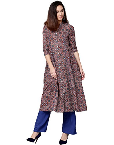 Jaipur Kurti Women Maroon & Blue Geometric Straight Cotton Kurta With - For Party Women Salwar Wear Suits