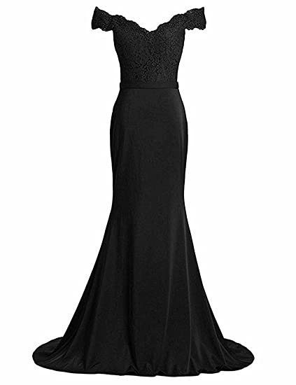 Leader of the Beauty Lace Off Shoulder Evening Dresses Mermaid Long Formal Party Dress Black UK