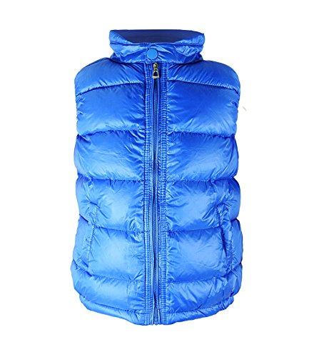 Solid Padded Soft Warm Vest Coat Kids Children High Neck Lightweight Down Puffer Jacket Royal Blue 4/5 (Neck Puffer Jacket)