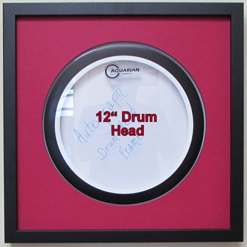 "12"" Drum Head Display Frame Set Black frame with matting Easy Mount (Dark Red Matting)"