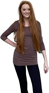 product image for Hard Tail 3/4 Sleeve V-Neck Skinny Tee in Palmetto and Mocha