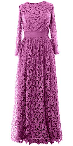 Sleeve Long Bride Mother Gown Long of Women Formal Dress Lace Fuchsia Evening MACloth xEnqIUn