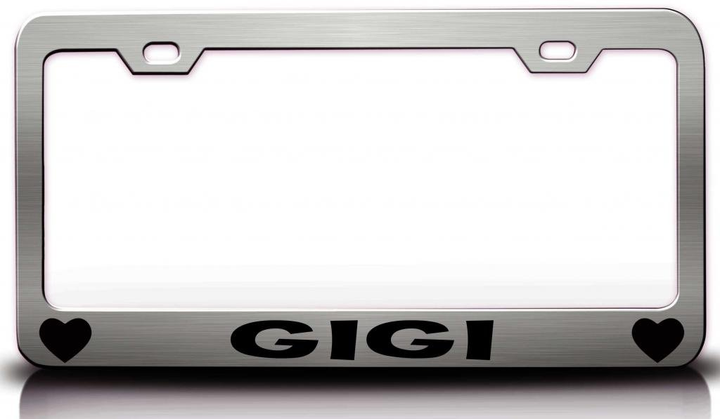 Amazon.com: GIGI with Hearts Steel Metal License Plate Frame Style ...