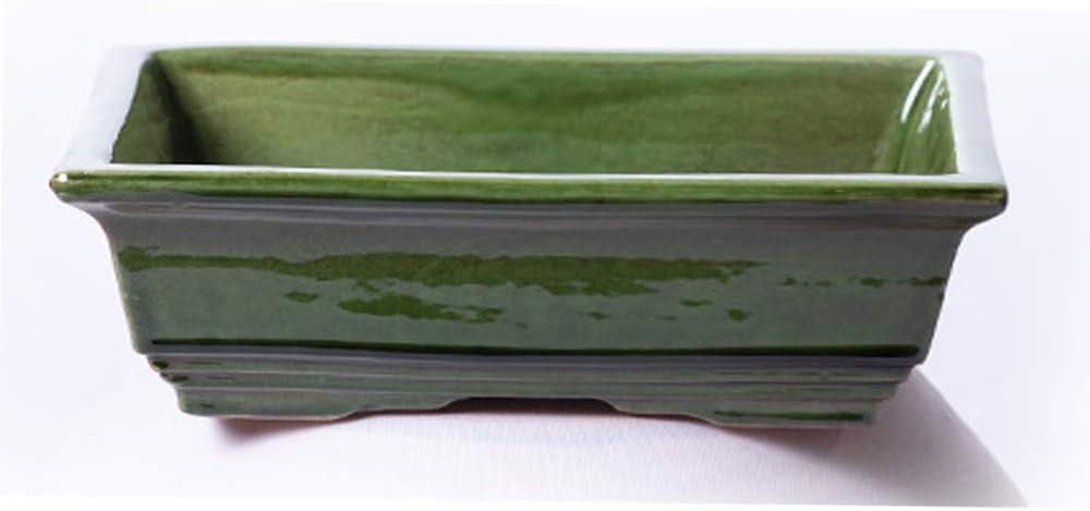 Alfareros Damian Canovas Maceta para Bonsai DE Barro Y ESMALTADA EN Color Verde. Medidas 18X14X6 CM.Modelo HIROSIMA. con TU Compra TE REGALAMOS EL Plato.