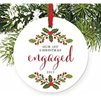 First Christmas Engaged Ornament, Engagement Gift Porcelain Ceramic Ornament, Soon-to-be Mr & Mrs, 3