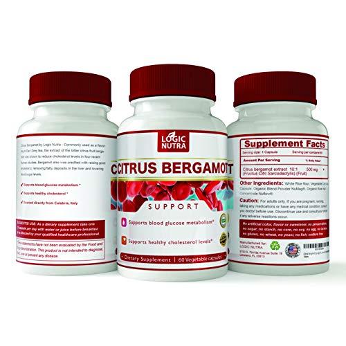 Logic Nutra Bergamot Capsules Cholesterol Support, Gluten Free, Vegan, 60 Capsules