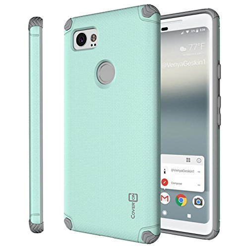 Google Pixel 2 XL Magnetic Case, CoverON Bios Series Minimalist Slim Fit Hard Protective Cover with Embedded Magnet Plate for Car Mounts for Pixel 2 XL / 2XL - Powder Blue and Gray