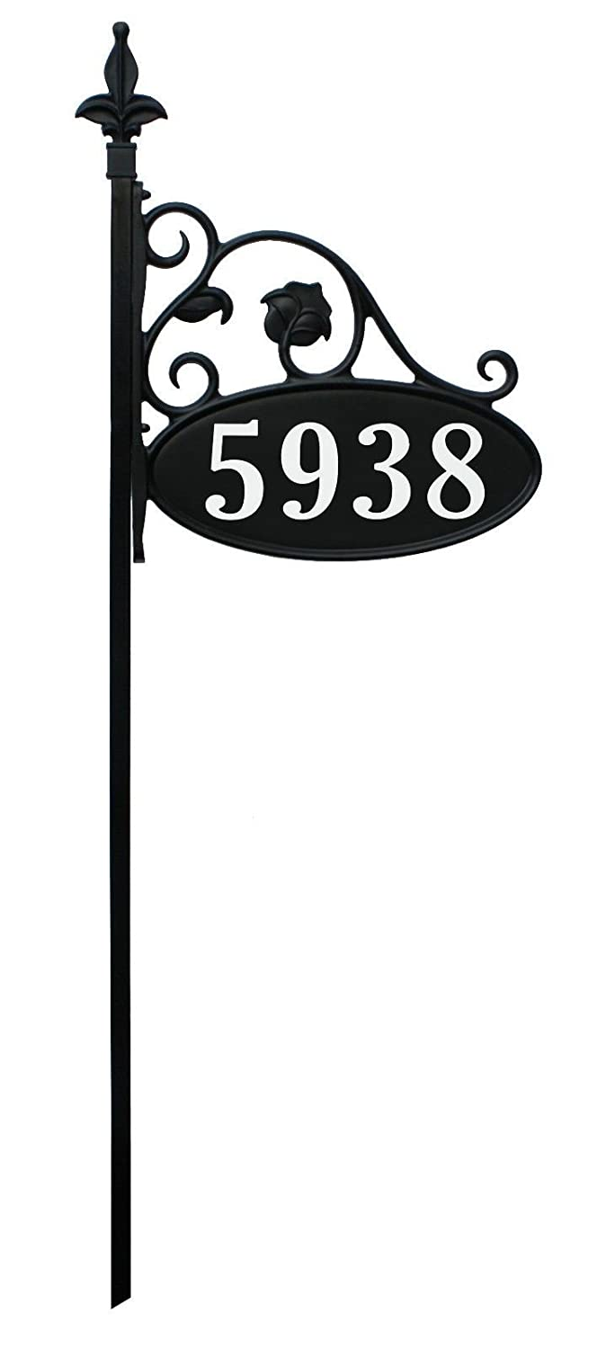 "Yard Sign Address Plaque with Highway-grade reflective vinyl House Numbers Wrought iron look, Oval, Black, Double sided house plate, 911 Visibility Signage, Elegantly handcrafted in USA, 47"" Pole 100% NO QUESTIONS ASKED 60 DAY GUARANTEE"