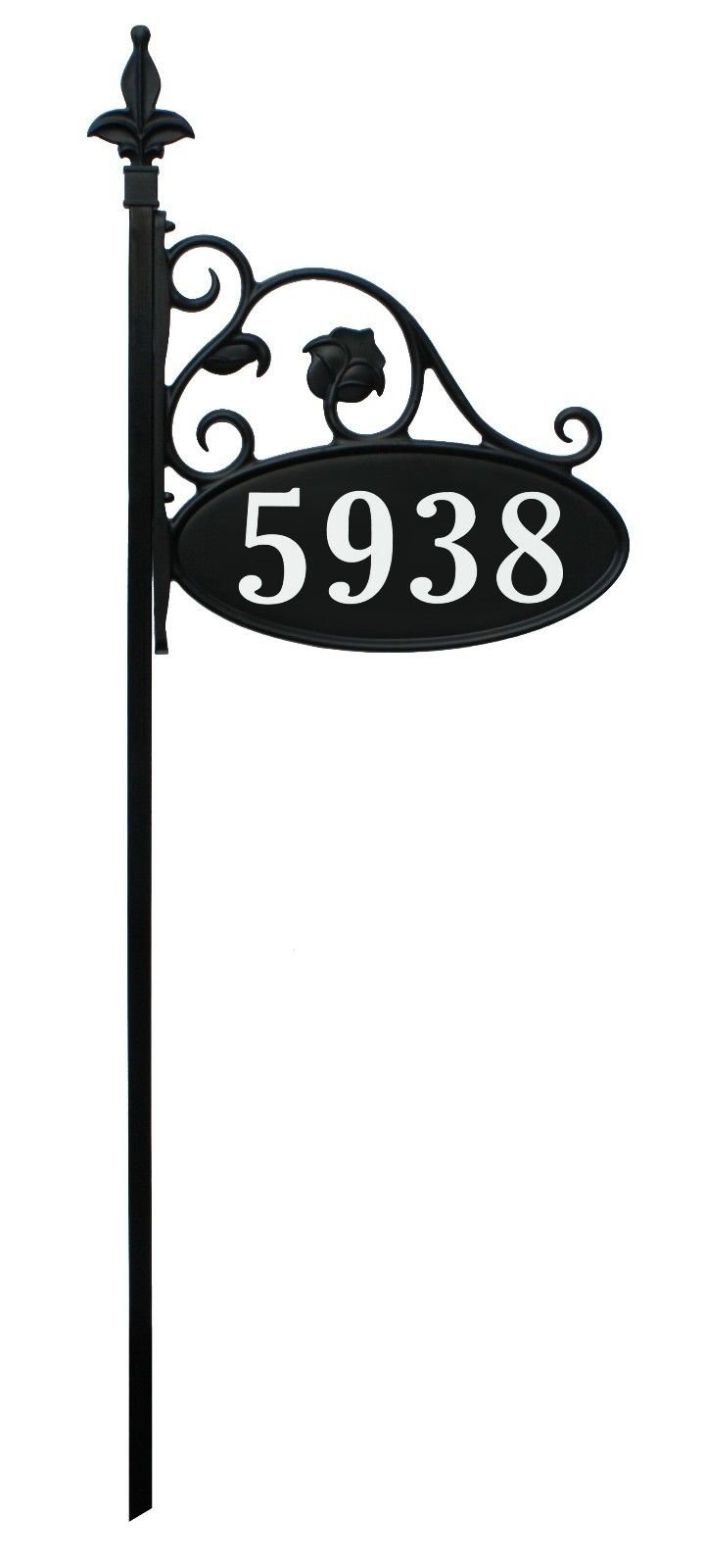 Park Place Oval Double Sided Reflective 911 Home Address Sign for Yard Hand Crafted in USA Wrought Iron Look (48'' Pole)