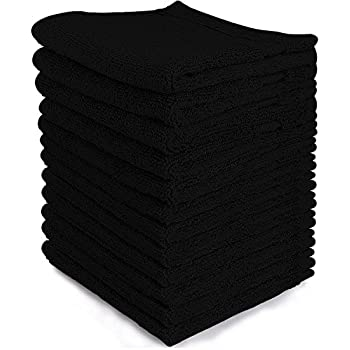 "BambooMN Brand - 8 Super Soft 10"" x 10"" Organic Baby Washcloth Wipes, 100% Rayon from Natural Bamboo, Absorbent and Durable - Black"