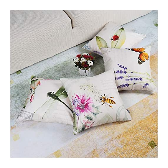 "ONWAY Outdoor Garden Decoration Bee/Butterfly/Dragonfly/Ladybug Pillow Case Leaf/Lavender/Flower Decorative Throw Pillow… - MATERIAL: 100% handmade and made of environment-friendly material and fabric--50% Cotton + 50% Linen COLOR&SIZE: Sand-like color ( Not white) bee ladybug throw pillow covers are 18 x 18 inches (standard decorative throw pillow cover size 45 x 45 cm) and can be used with 18"" x 18"" or 20"" x 20"" pillow inserts. WIDELY USED: Makes the perfect accent on a couch, sofa, chair, window seat or bed. It also makes a perfect housewarming or birthday gift. - patio, outdoor-throw-pillows, outdoor-decor - 51M0OsKscnL. SS570  -"