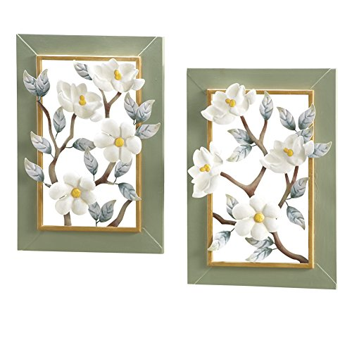 - Collections Etc 3D Magnolia Blossoms Metal Wall Art, Hand-Painted, Set of 2, Each 9