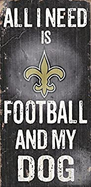 """Fan Creations NFL Football And My Dog Wood Sign 6"""""""