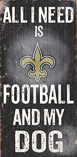 New Orleans Saints Wood Sign - Football and Dog 6