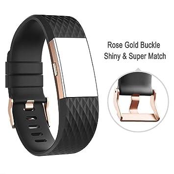 D&D para Fitbit Charge 2 Correa de muñeca Hebilla de Oro Rosa, DD Fitbit Accesorios de Silicona Ajustable para Fitbit Charge 2 Fitness Smartwatch