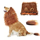 Lion Mane for Dogs Costumes Wig with Ears for Halloween Festival Party (Dark Brown)