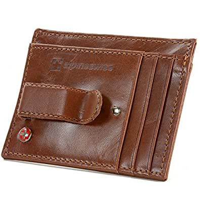Alpine Swiss Men's Leather Money Clip Front Pocket Wallet Brown