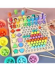 Coriver Montessori pedagogisk leksak, 13 i 1 träpussel öronly utbildning pinnar pärlpussel magnetisk fiskeset, barns händer ögon hjärna träning pussel bräda för förskolebarn