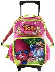 Dreamworks Trolls Poppy Large Hot Pink School Rolling Backpack 16