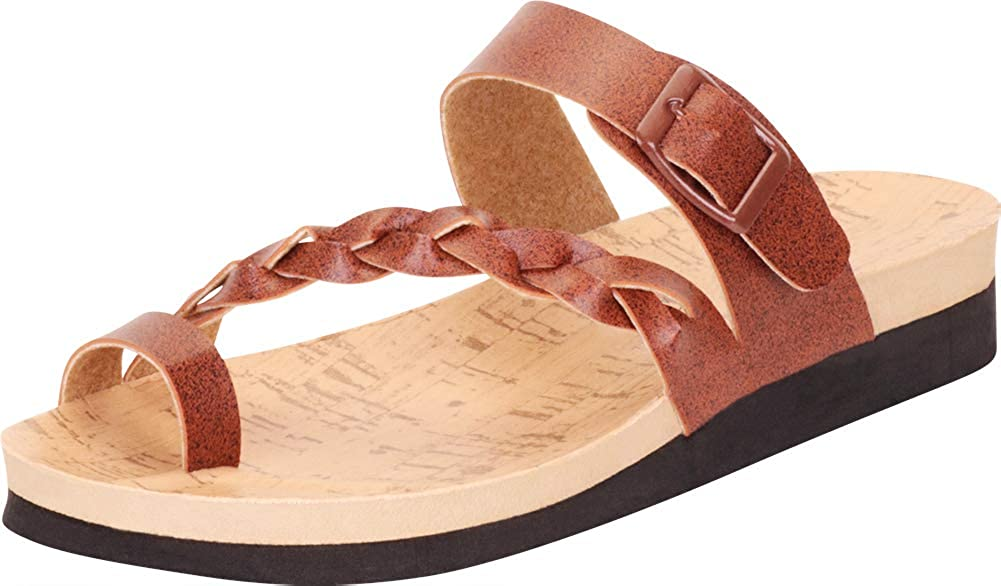 Cambridge Select Womens Slip-On Toe Ring Crossover Braided Strappy Flat Slide Sandal
