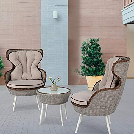 Oman 3 Piece Rattan Seating Group With Cushion Garden Outdoor