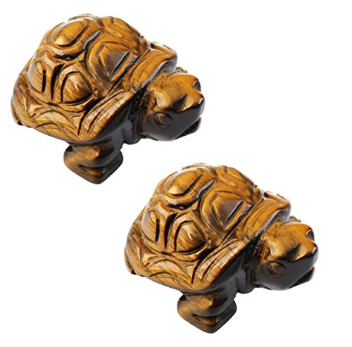 SUNYIK Tiger's Eye Stone Turtle Tortoise Pocket Statue Figurines Bookend Aamulet Fengshui 1.5