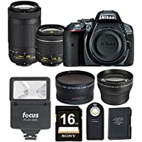 Nikon D5300 DSLR Camera with 18-55 Lens and AF-P Nikkor 70-300 Lens + Wide and Tele Lenses, Flash and Holiday Kit