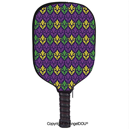 AngelDOU Mardi Gras Lightweight Neoprene Durable Pickleball Paddle Cover Antique Old Fashioned Motifs in Mardi Gras Holiday Colors Tile Pattern Holder Sleeve Case Protector.Purple Green Yellow ()