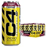 Cellucor C4 Original Carbonated Zero Sugar Energy Drink, Pre Workout Drink + Beta Alanine, Midnight Cherry, 16 Ounce Cans (Pack of 12)