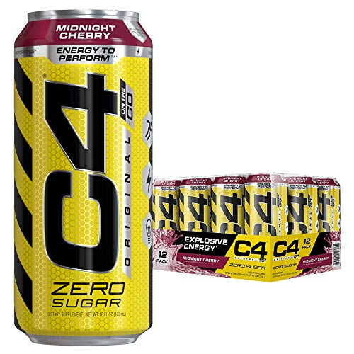Cellucor C4 Original Carbonated Zero Sugar Energy Drink, Pre Workout Drink + Beta Alanine, Midnight Cherry, 16 Fl. Oz (Pack of 12)