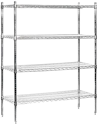 Salsbury Industries Stationary Wire Shelving Unit, 48-Inch Wide by 63-Inch High by 18-Inch Deep, Chrome